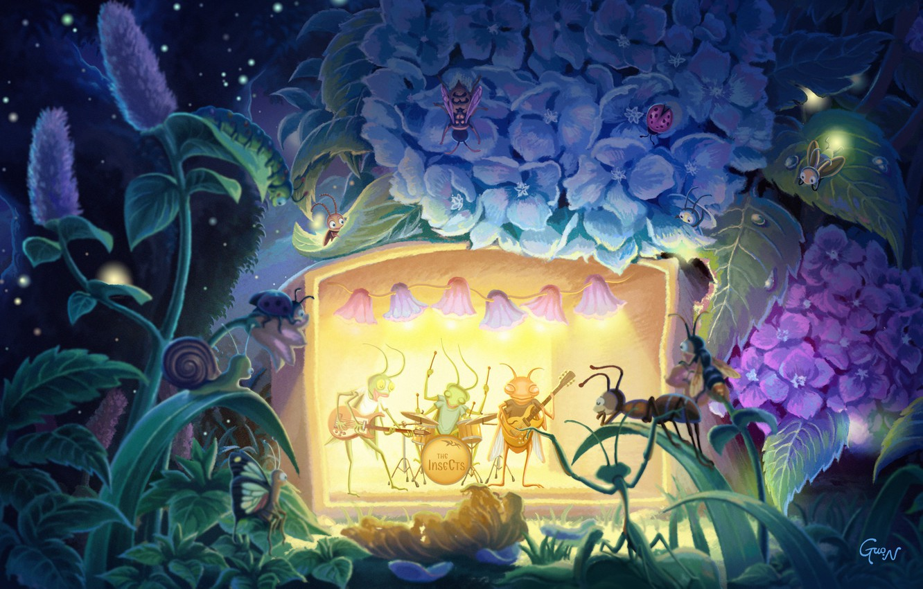 Photo wallpaper summer, flowers, night, concert, insects