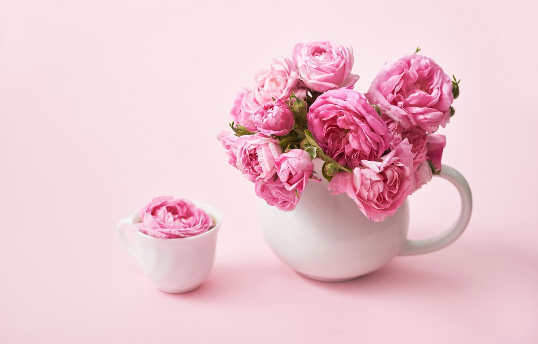 Photo wallpaper background, roses, bouquet, gentle, pink, tea