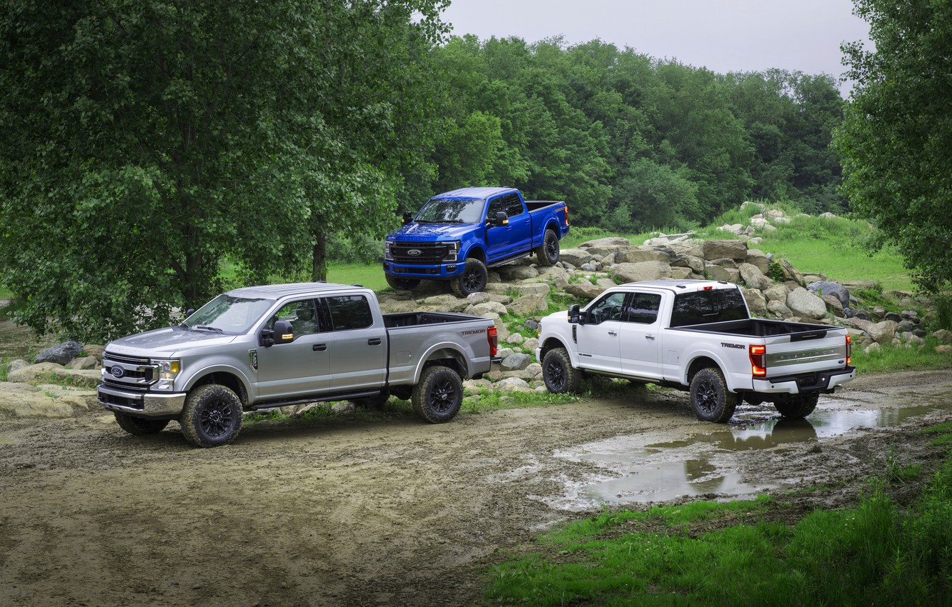 Photo wallpaper white, blue, grey, Ford, Super Duty, F-350, F-250, Tremor, 2020, pickups, Off-Road Package, F-series