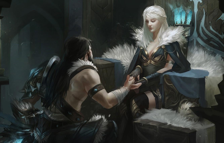 Photo wallpaper girl, man, warrior, League of Legends