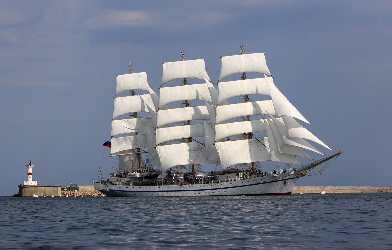 Photo wallpaper sea, lighthouse, sailboat, frigate, Hersonissos, учебное судно, Трёхмачтовый фрегат Херсонес