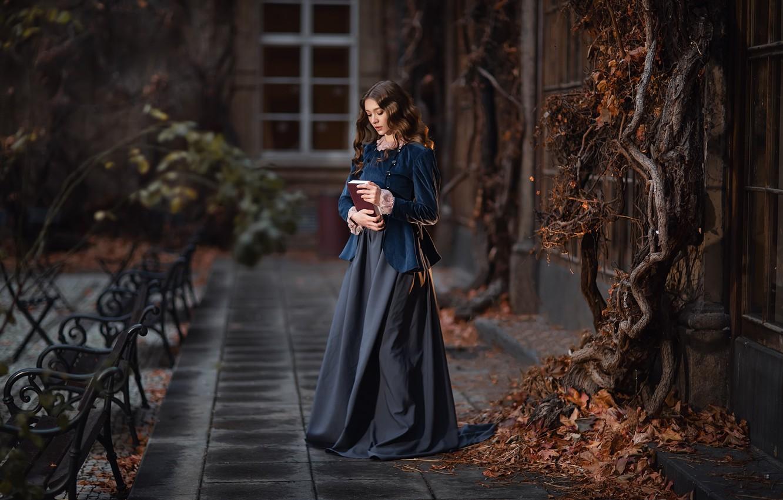 Photo wallpaper look, pose, hair, Girl, book, Anastasia Barmina