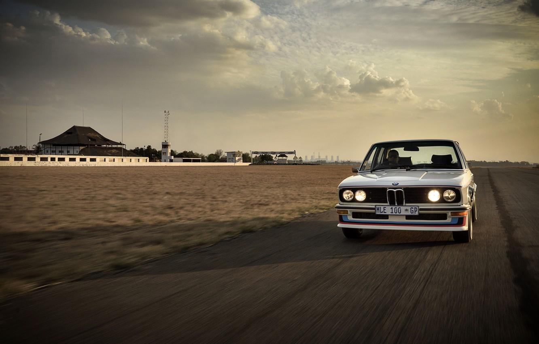 Photo wallpaper asphalt, movement, BMW, sedan, 1976, four-door, 5-series, E12, 530 MLE