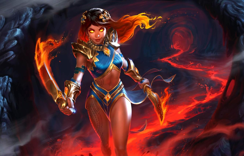 Wallpaper Look Girl Weapons Fire Fantasy Art Lava