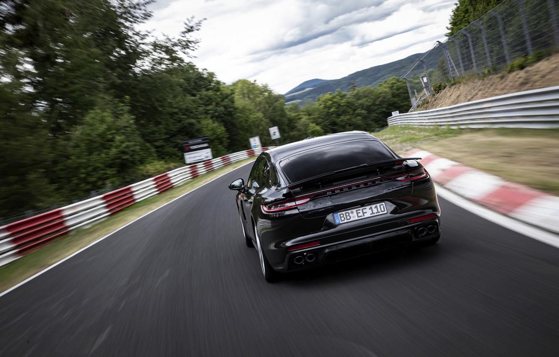 Photo wallpaper black, Porsche, Panamera, back, The Nürburgring, 2020, Nordschleife, предсерийный