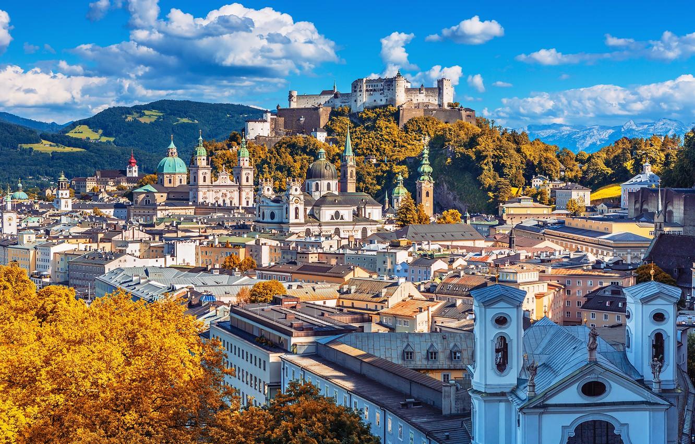 Photo wallpaper mountains, home, Austria, panorama, Salzburg