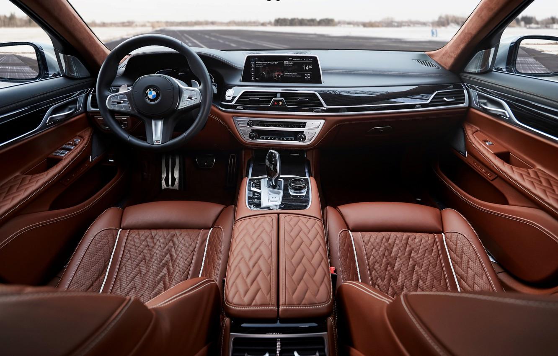 Photo wallpaper BMW, sedan, salon, hybrid, four-door, G12, G11, 7, 7-series, 2019, 745e, 745Le