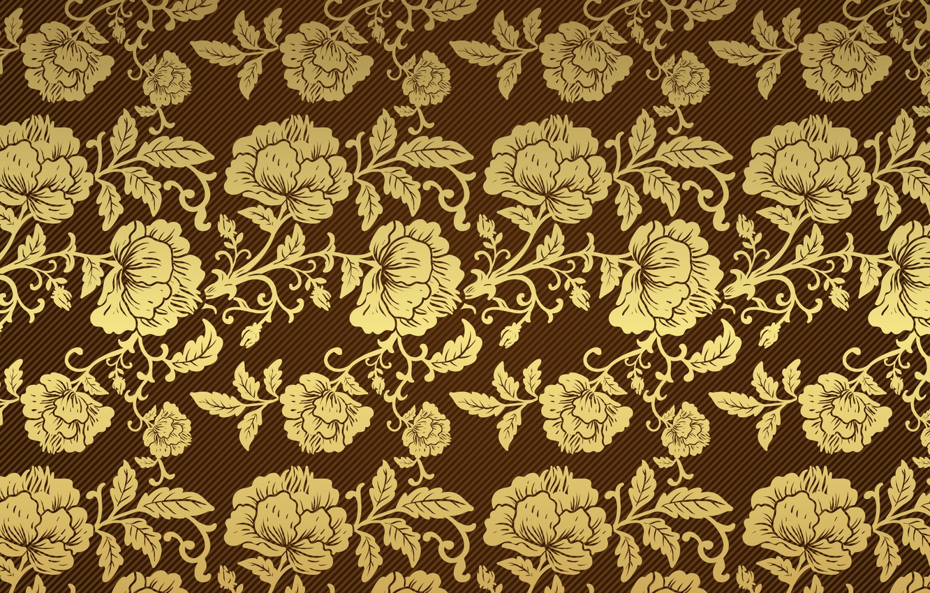 Photo wallpaper retro, background, Wallpaper, pattern, roses, gold, brown, vintage