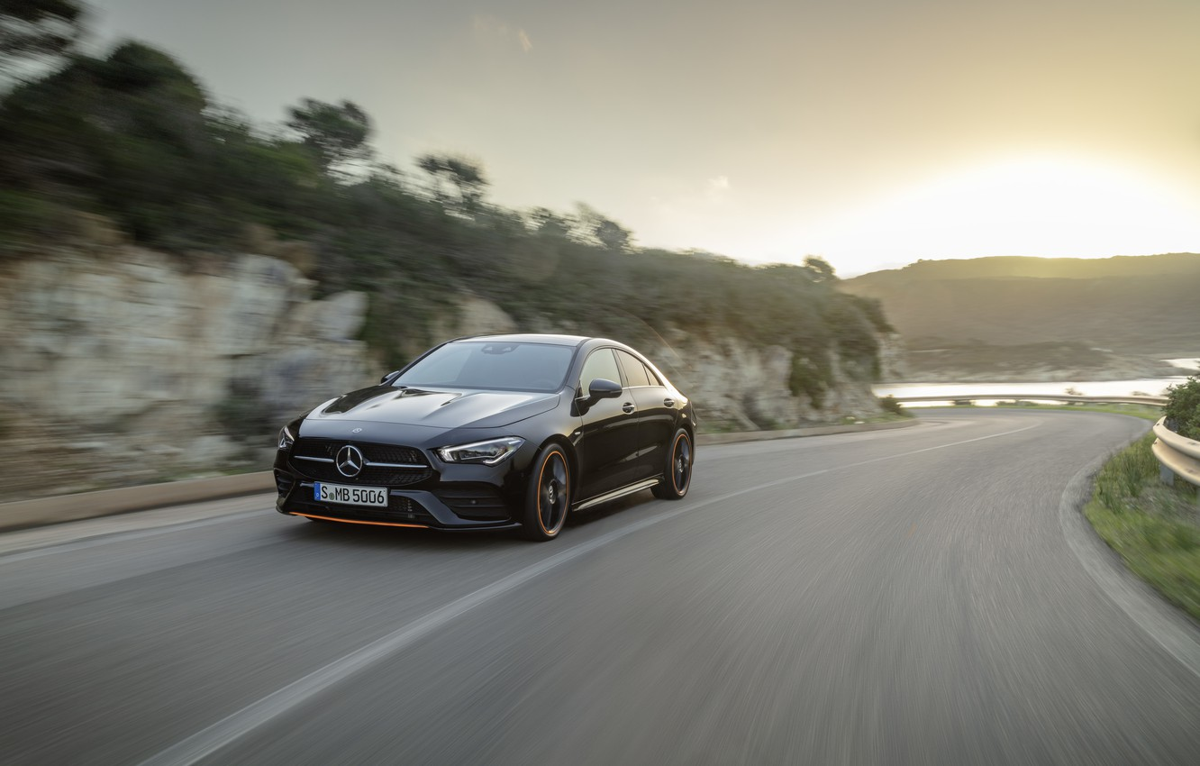 Photo wallpaper road, machine, water, the sun, nature, coupe, turn, compact, Mercedes-Benz CLA
