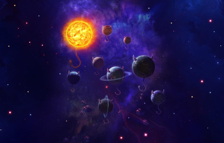 Photo wallpaper Stars, Planet, Space, Nebula, Star, Planet, Hell, Fantasy, Demons, Horns, Planets, Star, Stars, Space, Planet, …