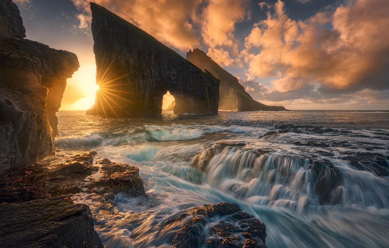 Photo wallpaper sunset, the ocean, rocks, Denmark, The Atlantic ocean, Faroe Islands, Faroe Islands, Denmark, Atlantic Ocean