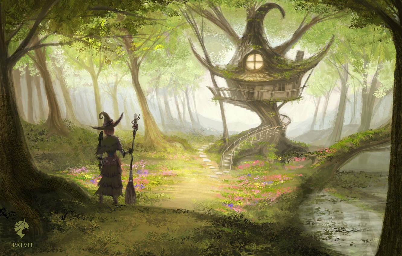 Photo wallpaper forest, house, witch