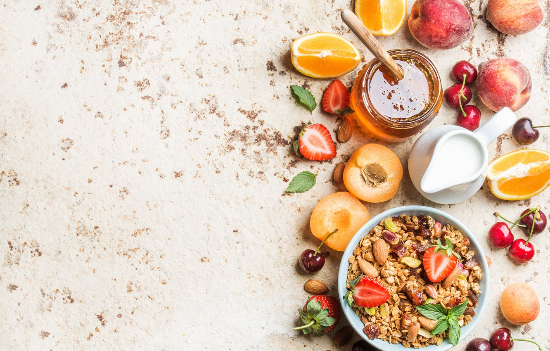 Photo wallpaper cherry, orange, Breakfast, milk, strawberry, honey, apricot, muesli