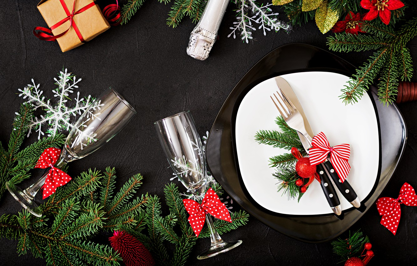 Photo wallpaper decoration, New Year, glasses, Christmas, champagne, Christmas, wood, New Year, decoration, xmas, serving, champagne, Merry, …