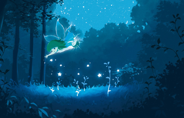 Photo wallpaper forest, stars, night, fairy, fantasy