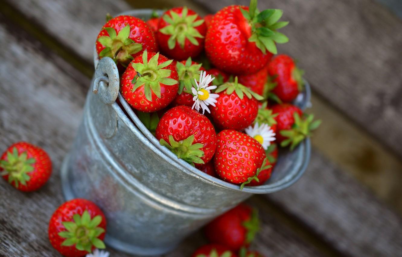 Photo wallpaper flowers, Strawberry, berry