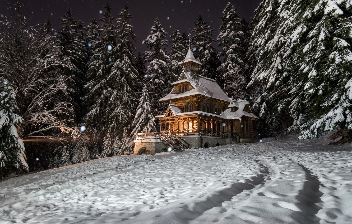 Photo wallpaper winter, forest, snow, trees, landscape, night, nature, house, ate, Poland, mansion