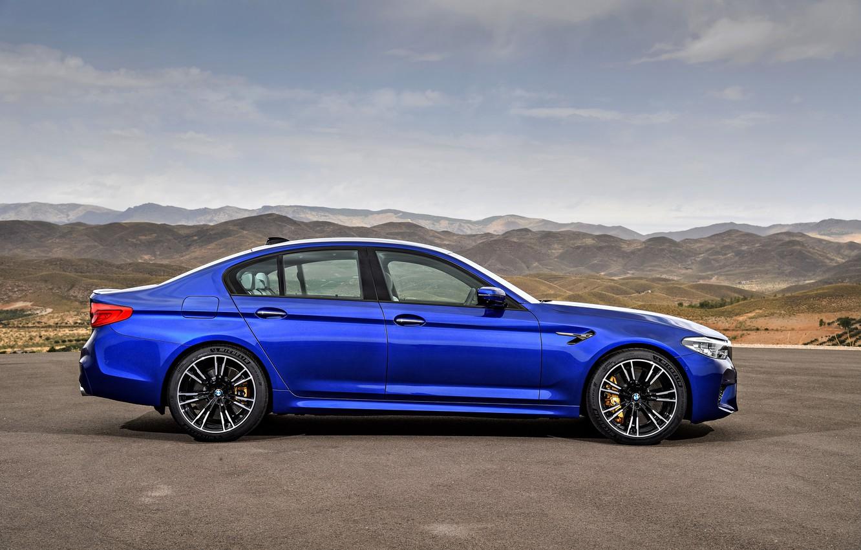 Photo wallpaper blue, BMW, profile, sedan, BMW M5, four-door, 2017, M5, F90