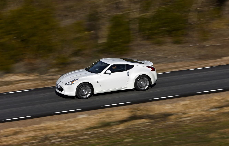 Photo wallpaper road, white, speed, Nissan, 2011, 370Z