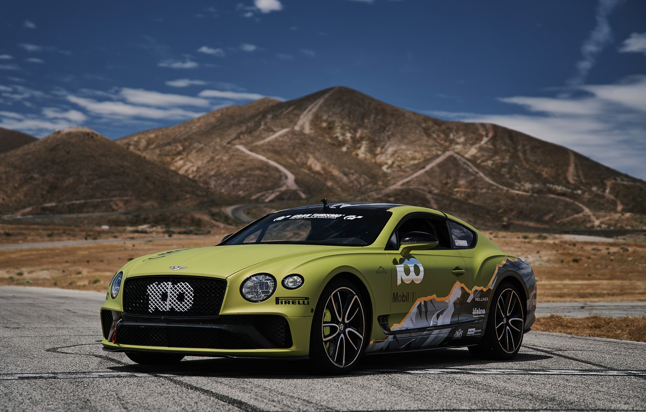 Photo wallpaper coupe, Bentley, Continental GT, Pikes Peak, 2019, mountains in the background, 626 HP