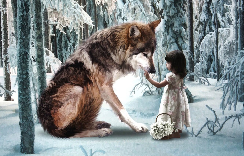 Wallpaper winter forest wolf girl images for desktop section