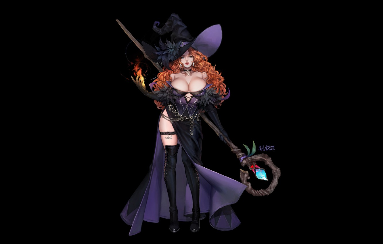 Photo wallpaper Girl, Red, Fantasy, Art, Style, Background, Illustration, Minimalism, Hat, Witch, Character, Staff, Spell, MAHO