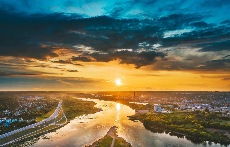 Photo wallpaper morning, Lithuania, Kaunas, Santaka