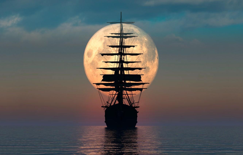 Photo wallpaper sea, the moon, sailboat, a remake