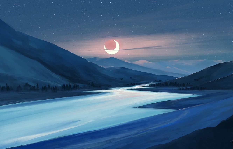 Photo wallpaper moon, river, sky, trees, landscape, nature, eclipse, night, art, mountains, stars, artist, digital art, artwork, …