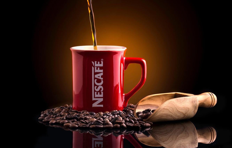 Photo wallpaper reflection, background, coffee, mug, coffee beans, scoop, Nescafé
