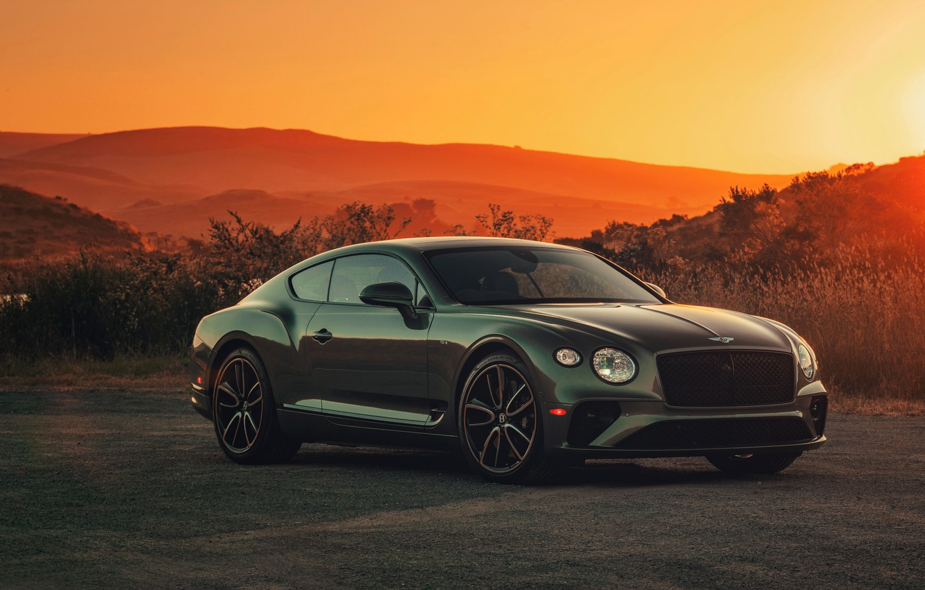 Photo wallpaper hills, coupe, Bentley, the evening, 2019, Continental GT V8