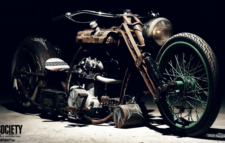 Photo wallpaper Chopper, Custom, Rims, Engine, Motorcycle, Spokes