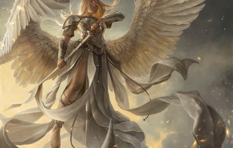 Photo wallpaper girl, sword, fantasy, armor, wings, Angel, blonde, artwork, warrior, fantasy art, fantasy girl