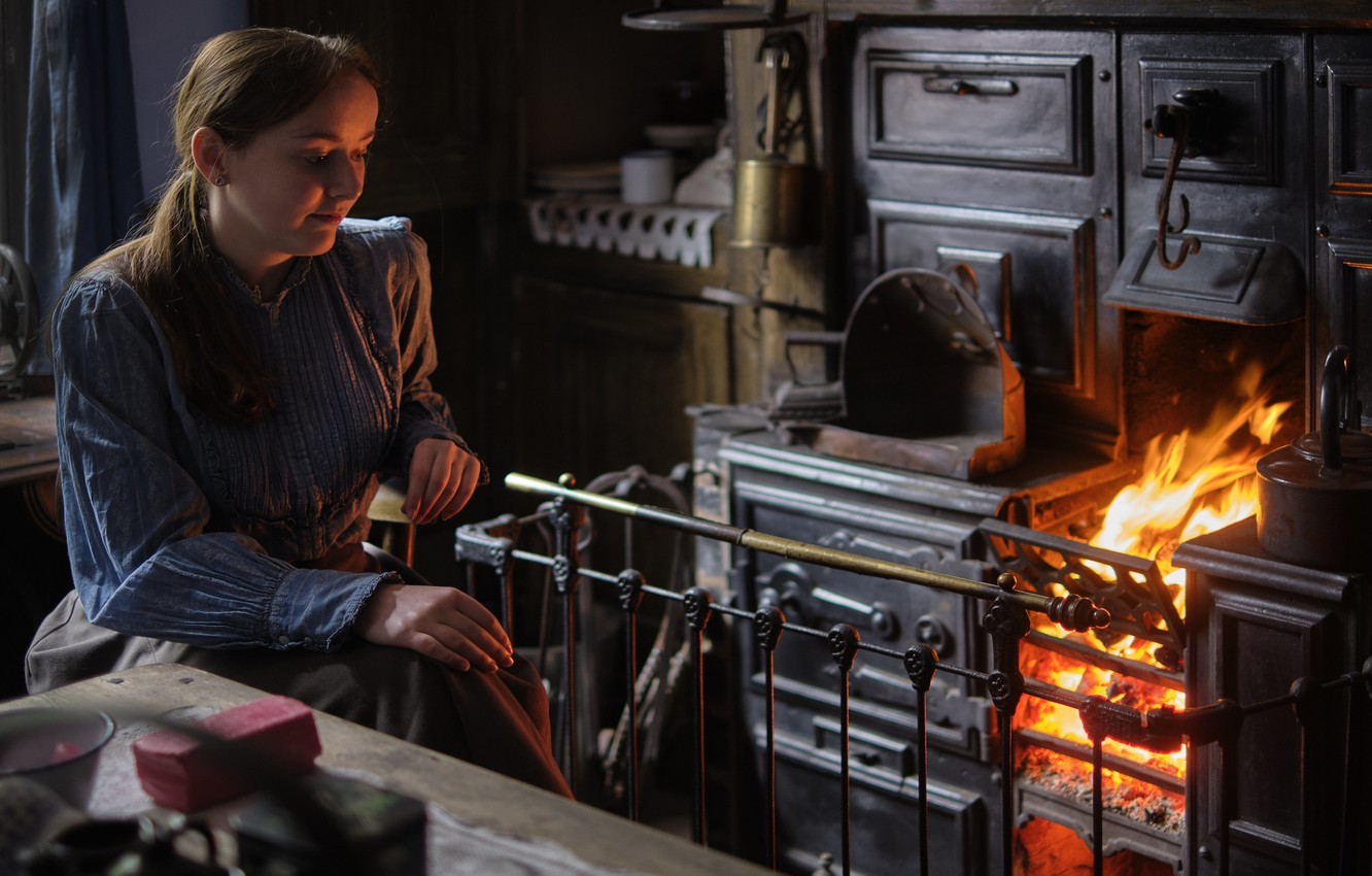 Photo wallpaper girl, old, fire, stove