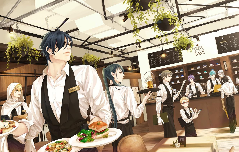 Photo wallpaper anime, art, restaurant, guys, the waiters, Touken ranbu
