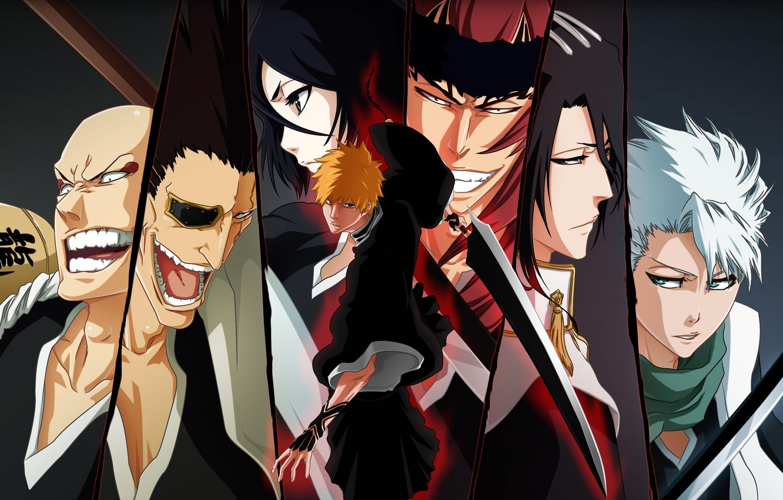 Photo wallpaper emotions, sword, face, Bleach, Bleach, Ichigo Kurosaki, grin, Ichigo Kurosaki, characters, Kuchiki Rukia, eye patch, …