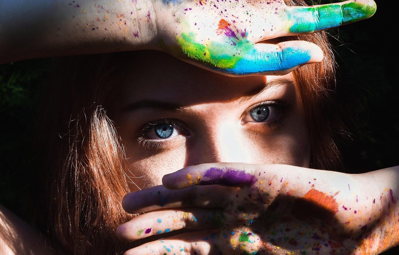 Photo wallpaper eyes, look, girl, drops, light, squirt, face, eyelashes, mood, paint, bright, divorce, hands, spot, girl, …
