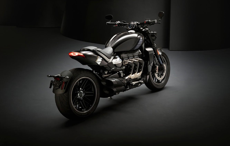 Photo wallpaper triumph, motocycle, dark background, triumph rocket iii
