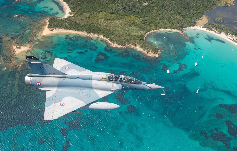 Photo wallpaper Sea, Beach, Yacht, Shore, Lantern, Pilot, Mirage 2000, The French air force, Cockpit, Air force, …