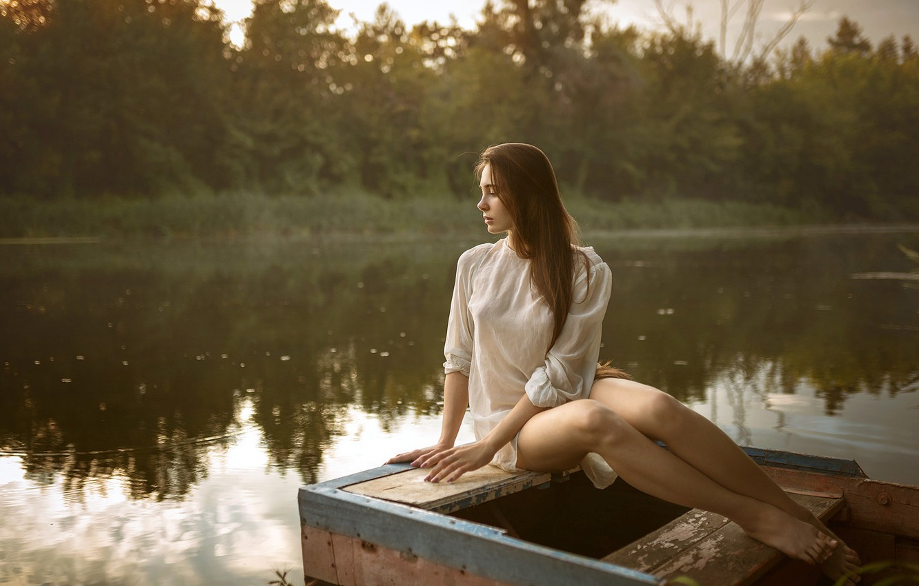 Photo wallpaper forest, trees, pose, river, model, boat, portrait, makeup, figure, dress, hairstyle, brown hair, legs, beautiful, …