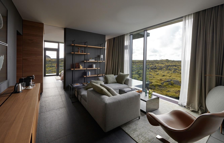 Wallpaper Villa Interior Living Room Blue Lagoon Iceland