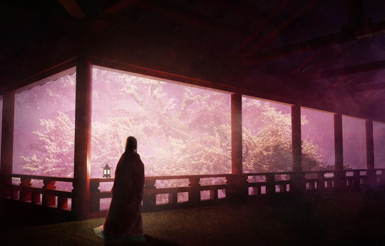 Photo wallpaper girl, spring, Sakura, veranda