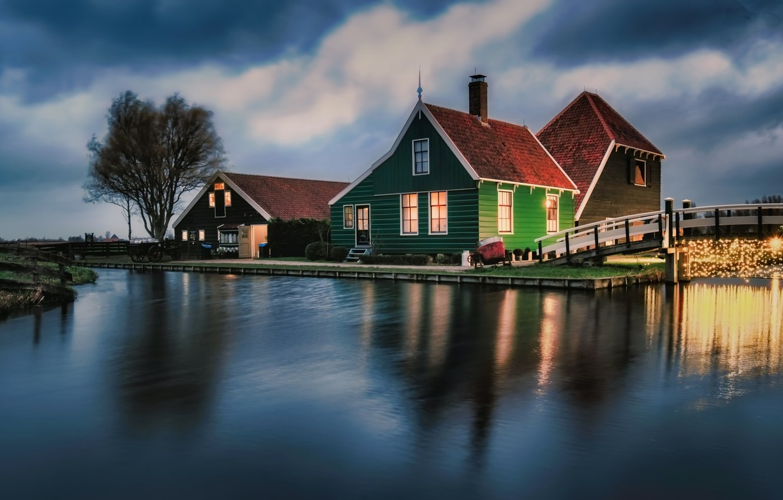 Photo wallpaper water, clouds, bridge, lights, House