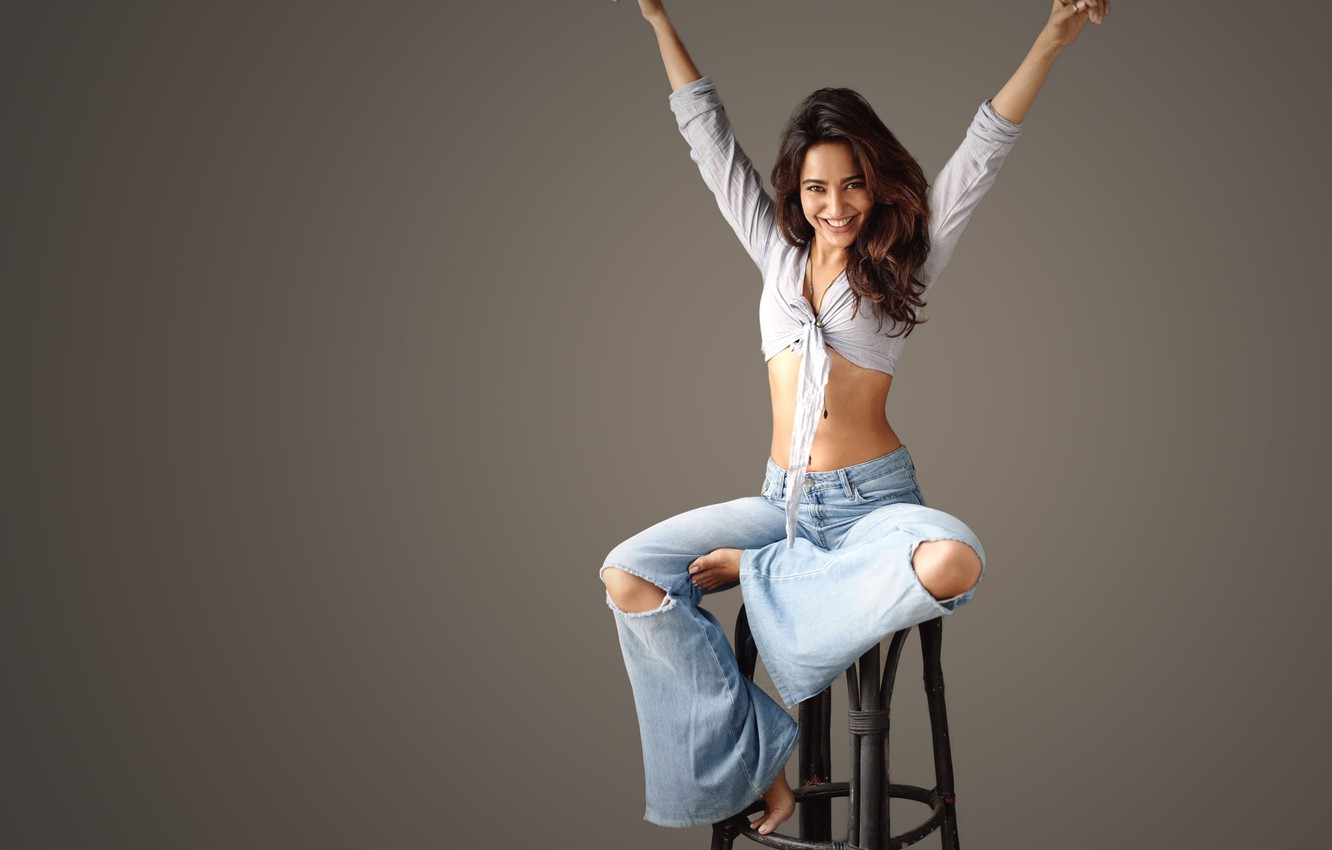 Photo wallpaper girl, hot, sexy, smile, beautiful, model, pose, indian, actress, celebrity, bollywood, ripped jeans, Neha sharma
