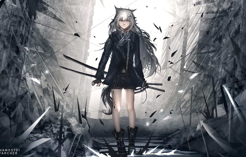 Photo wallpaper scar, killer, katana, shards of glass, sharp, hell of a grin, black clothes, dark place, …