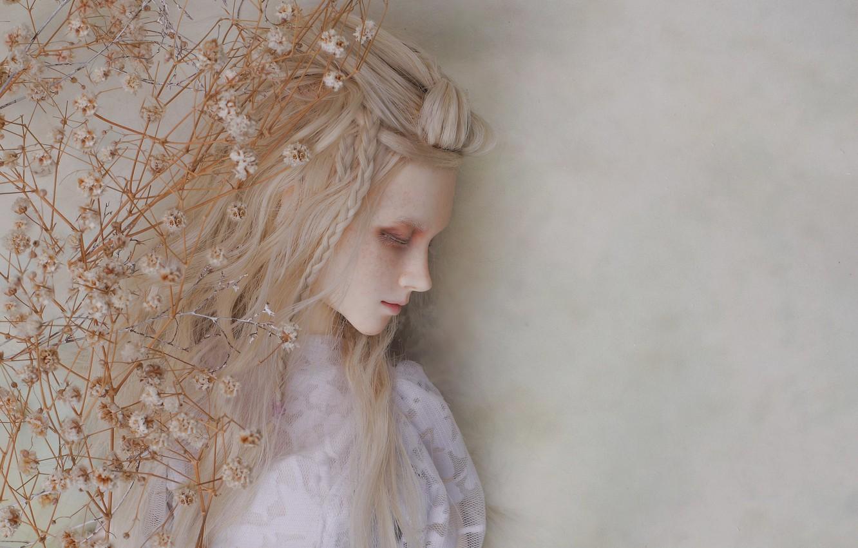 Photo wallpaper sadness, girl, mood, doll, blonde