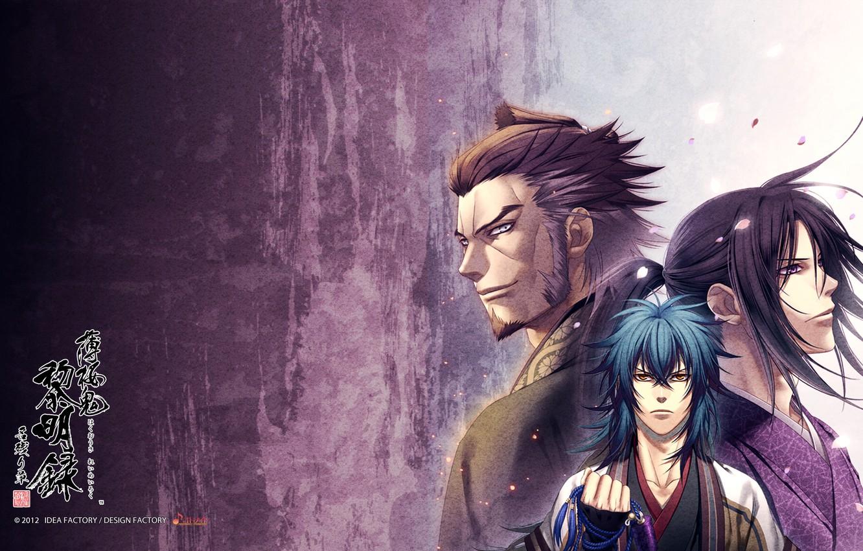 Photo wallpaper anime, guys, trio, samurai, Hakuouki