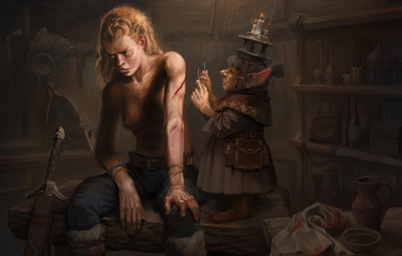 Photo wallpaper warrior, fantasy, art, the plot, care, wound, Mother, Peter Krüger Garcia