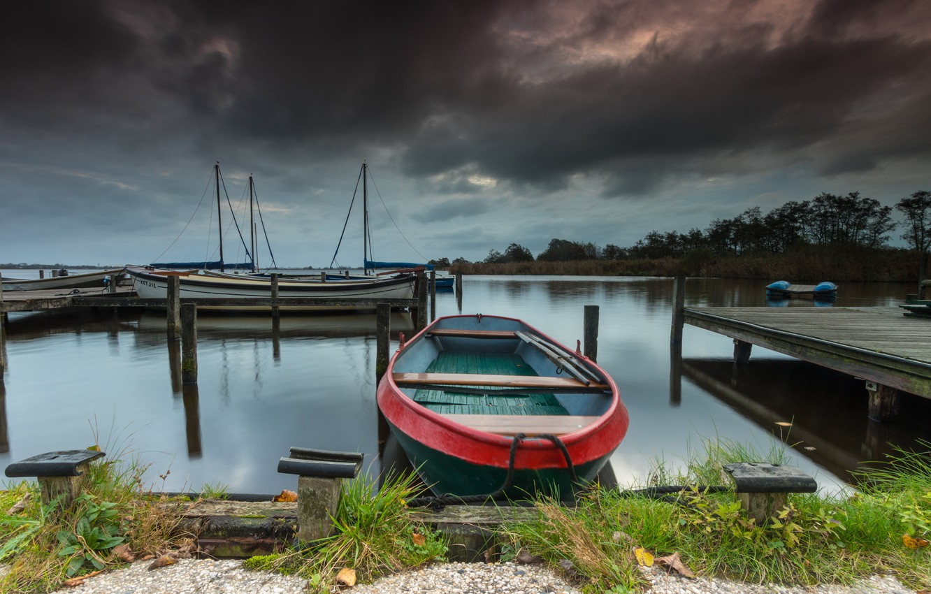 Photo wallpaper grass, landscape, clouds, nature, lake, boats, pier, bridges