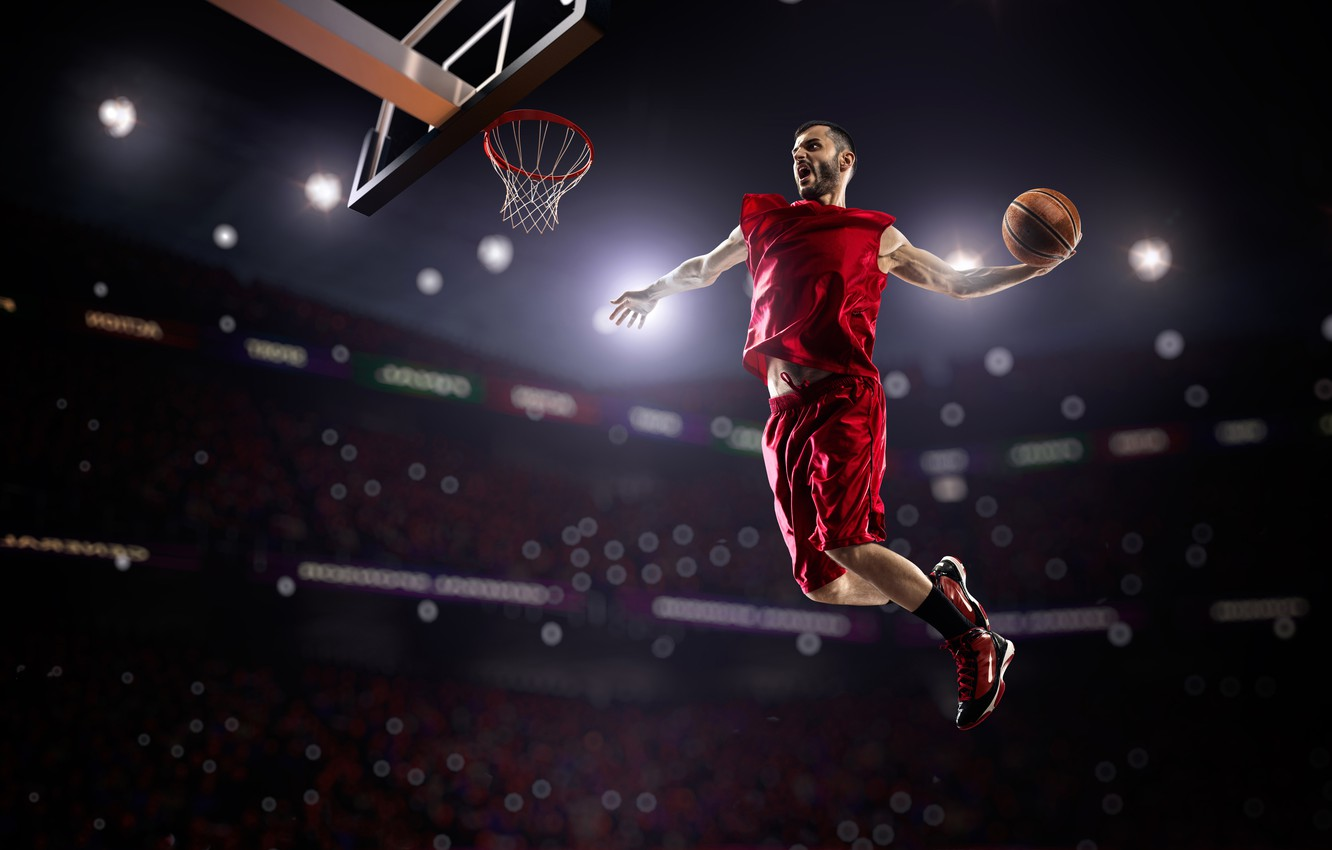 Photo wallpaper lights, jump, sport, the game, shorts, the ball, Mike, ring, athlete, male, basketball, in red, …